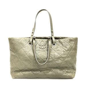 Chanel Elephant Gray Quilted Leather Tote SHW Bag